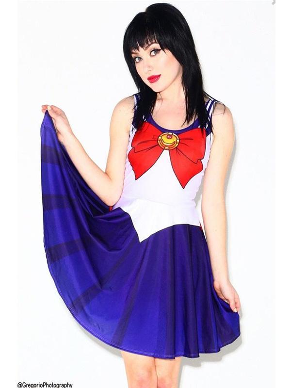 Womens Sailor Moon Digital Print Mercury Venus Chibi Moon Clubwear Skirt Dress