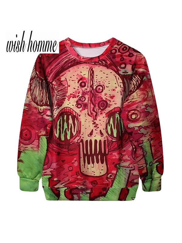 Mens 3D skull T-shirt Sweater Sweatshirt Hoodie Pullover Tops Sweatshirts & Hoodies