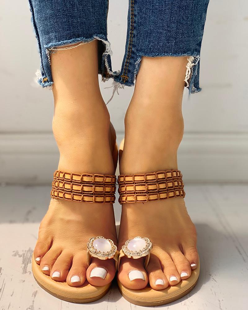 Rhinestone Embellished Toe Ring Casual Sandals фото