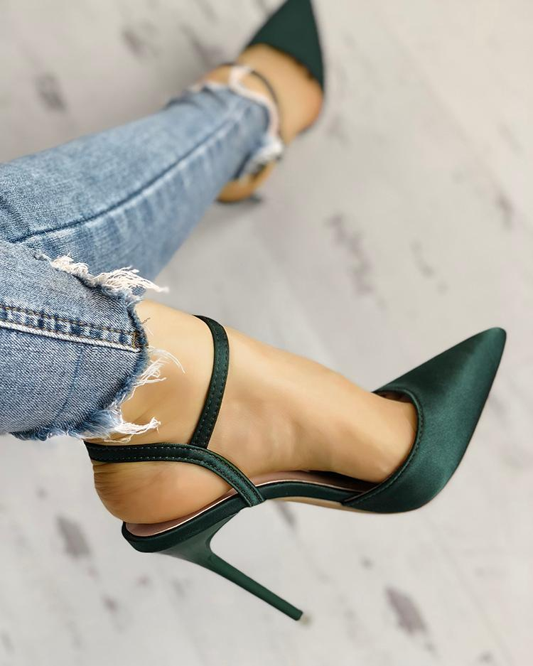 Satin Ankle Buckle Pointed Toe Thin Heeled Sandals, Green