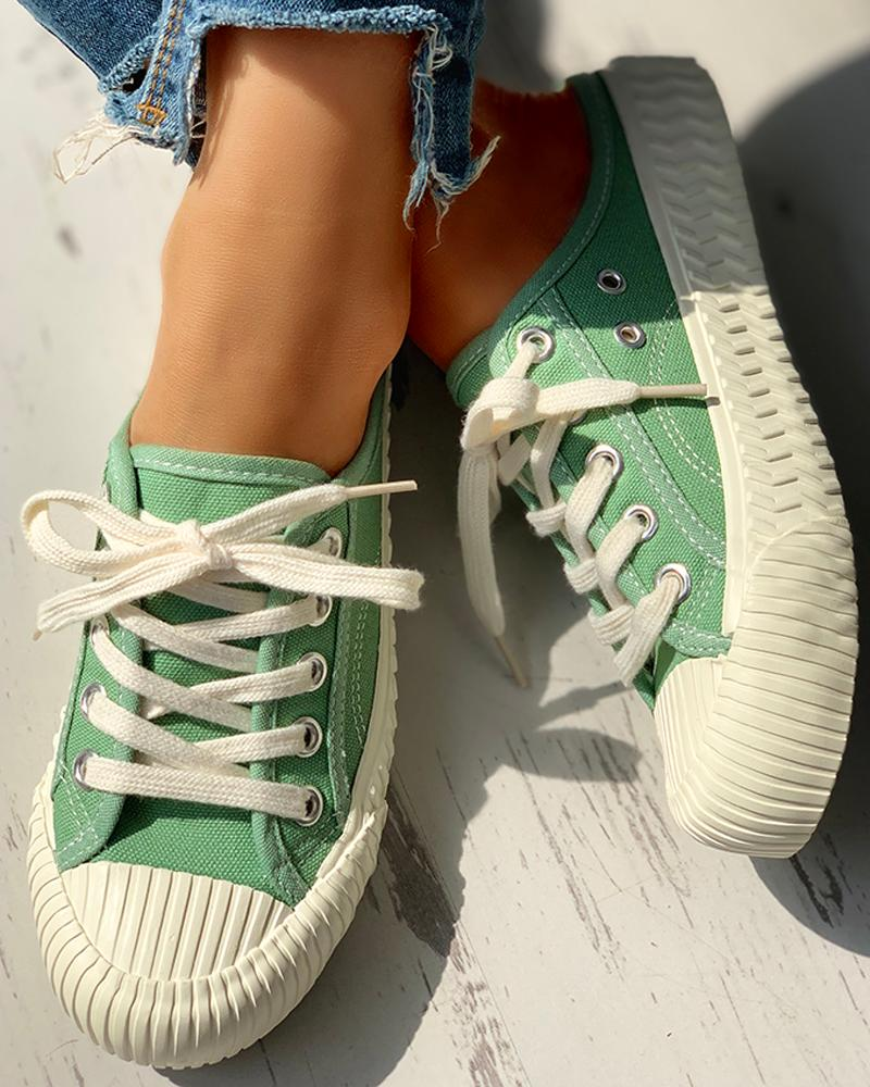 Eyelet Lace-Up Pattern Epadrille Sneakers, Green
