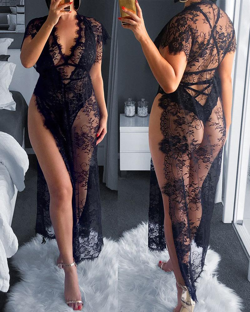 Eyelash Lace Sheer Mesh High Slit Nightgown фото