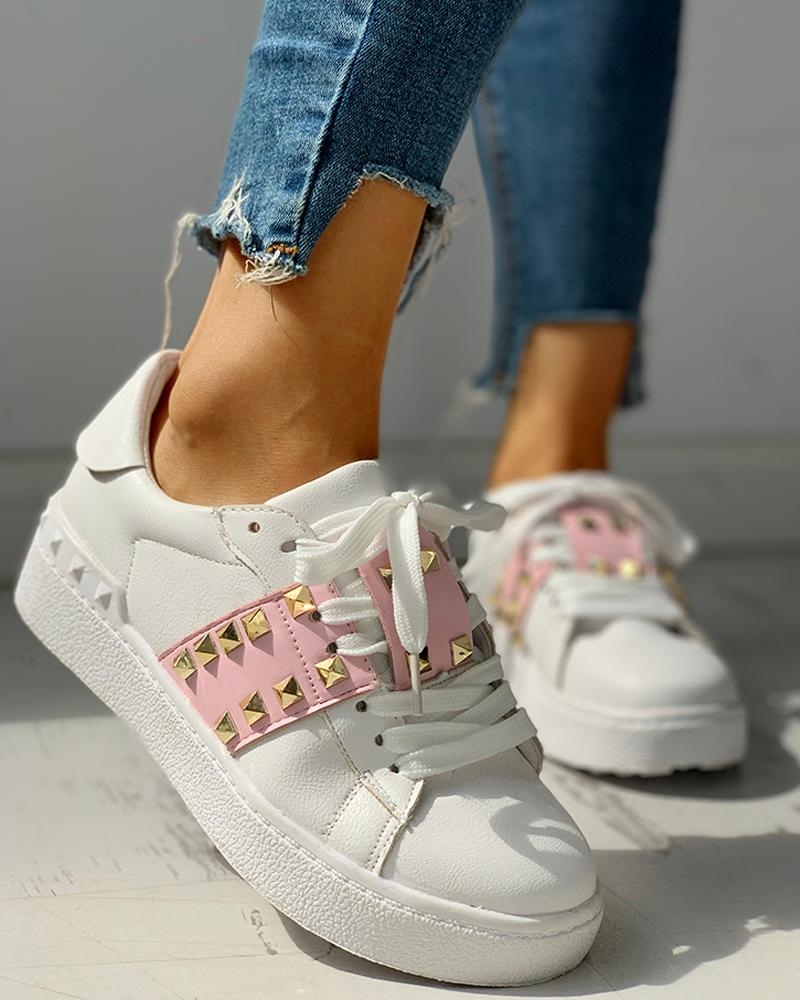 Colorblock Studded Lace-Up Casual Sneakers фото