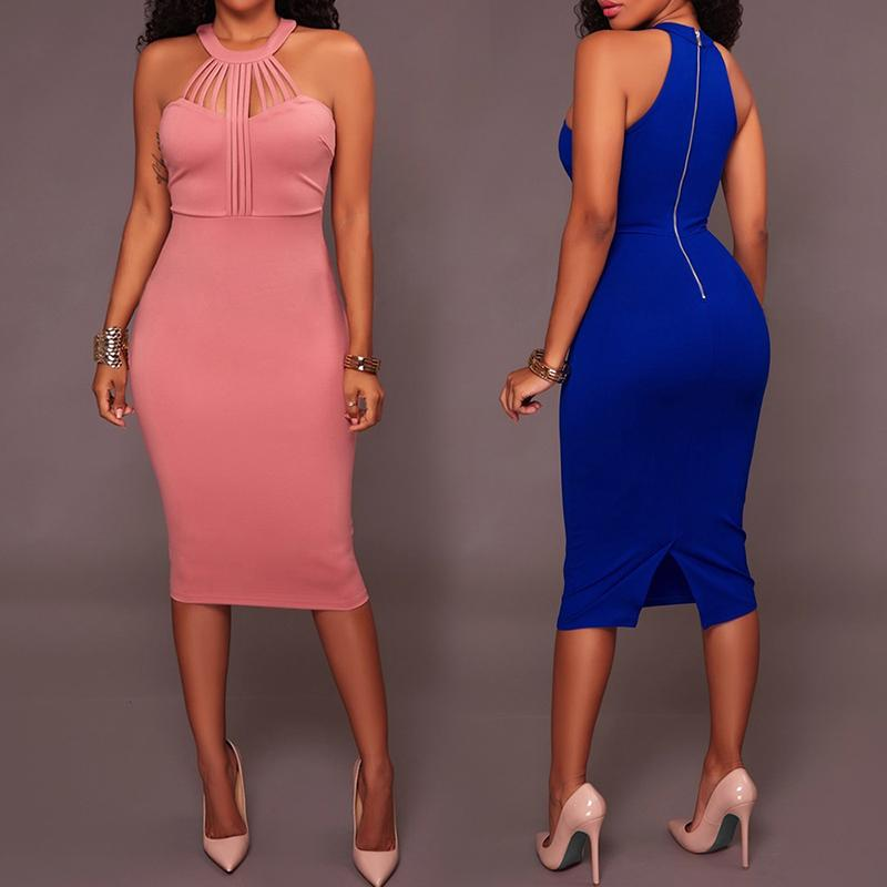 Sexy Caged Split Bodycon Midi Dress фото