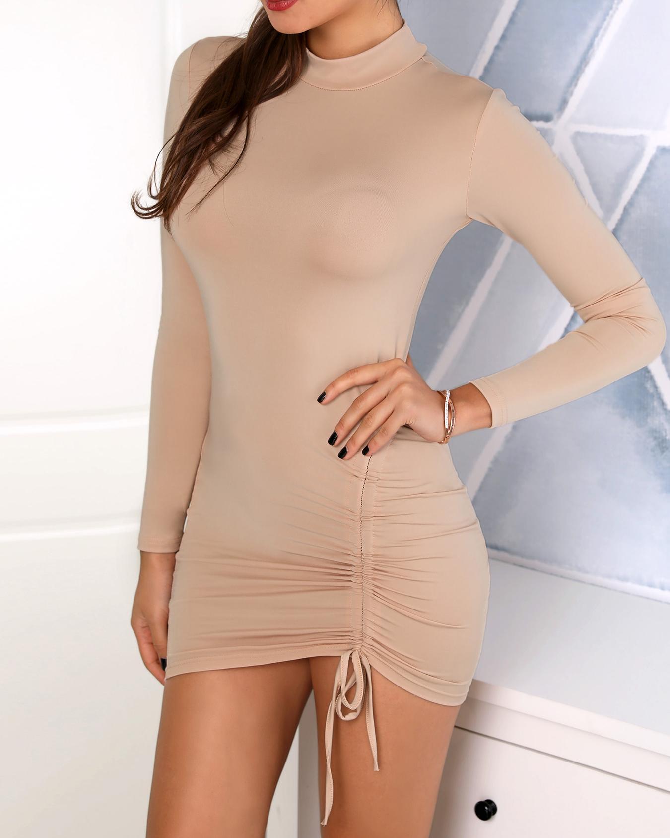 Mock Neck Scrunched Long Sleeve Dress