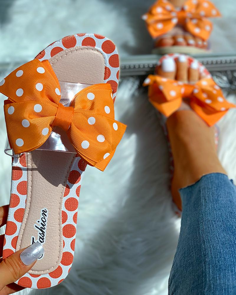 Transparent Strap Bowknot Dot Flat Slipper, Orange