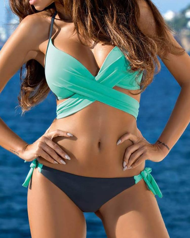 Halter Crisscross Knotted Bikini Set фото