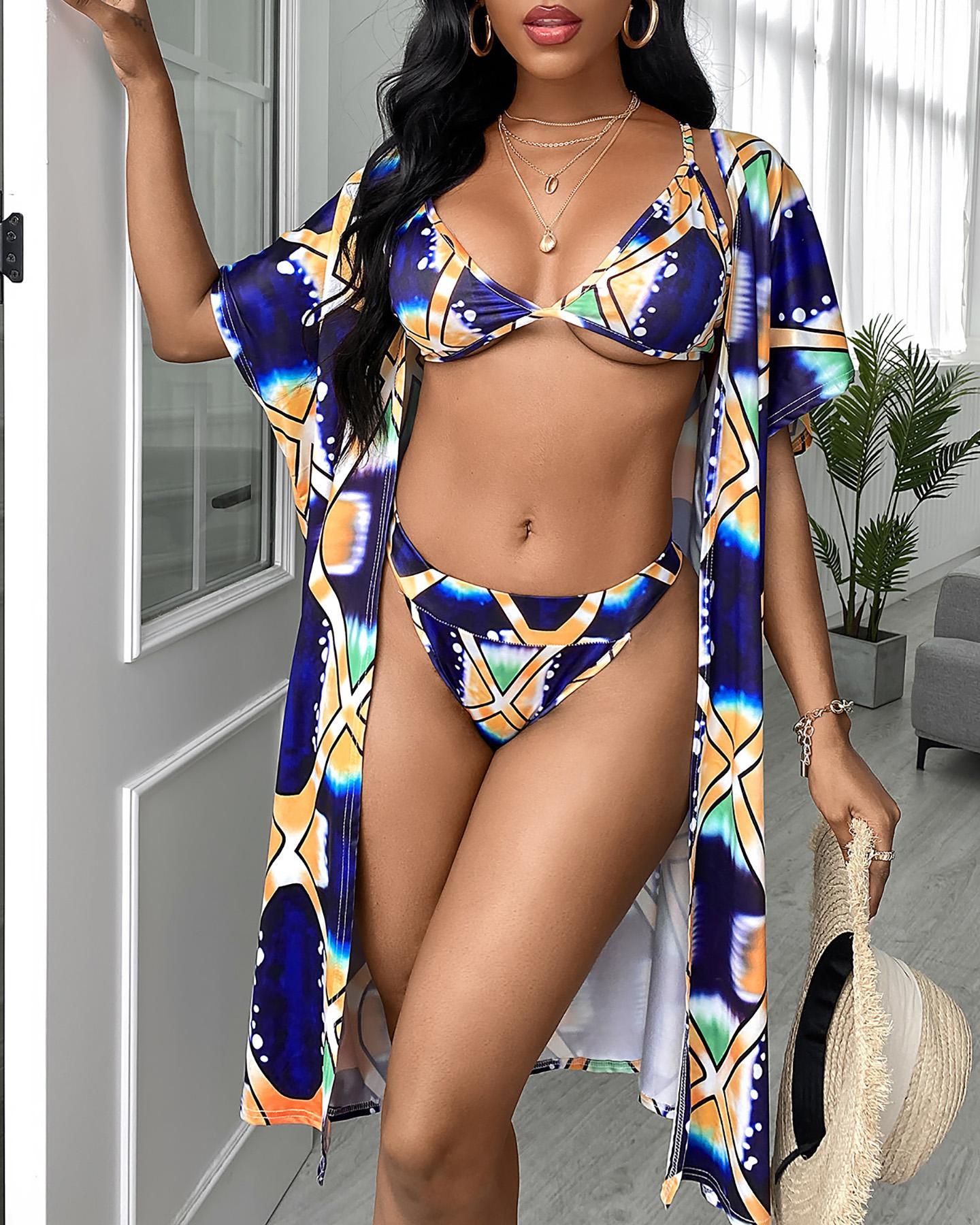 3PCS Digital Print Bikini Sets With Cover Ups фото