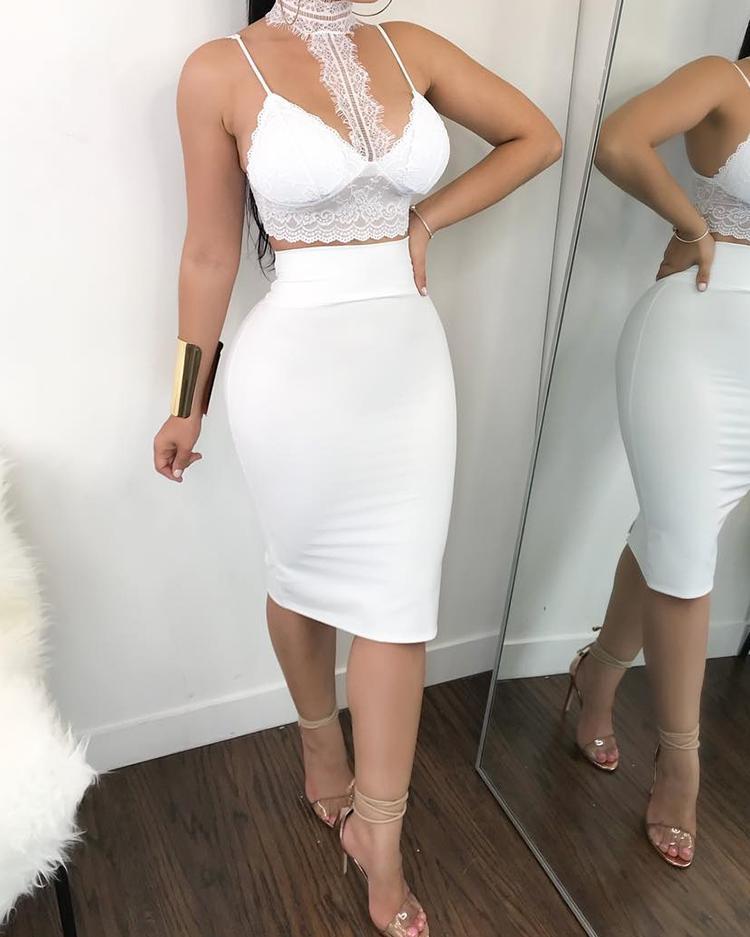 Sheer Halter Neck Lace Set Dress