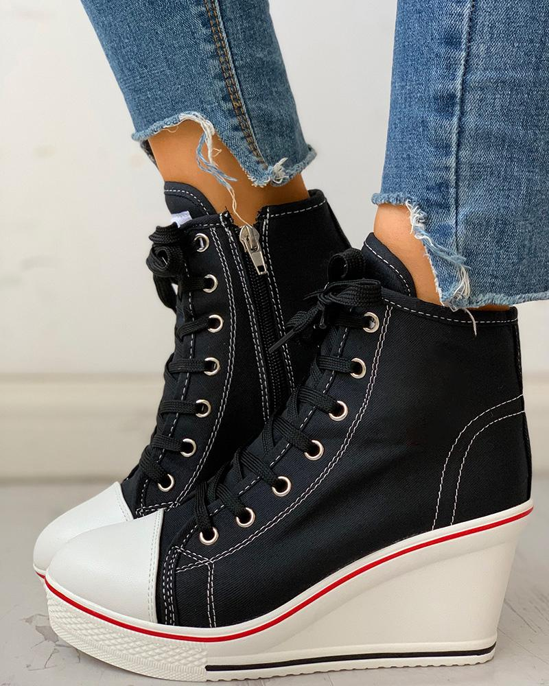 Eyelet Lace-Up Platform Wedge Sneakers фото
