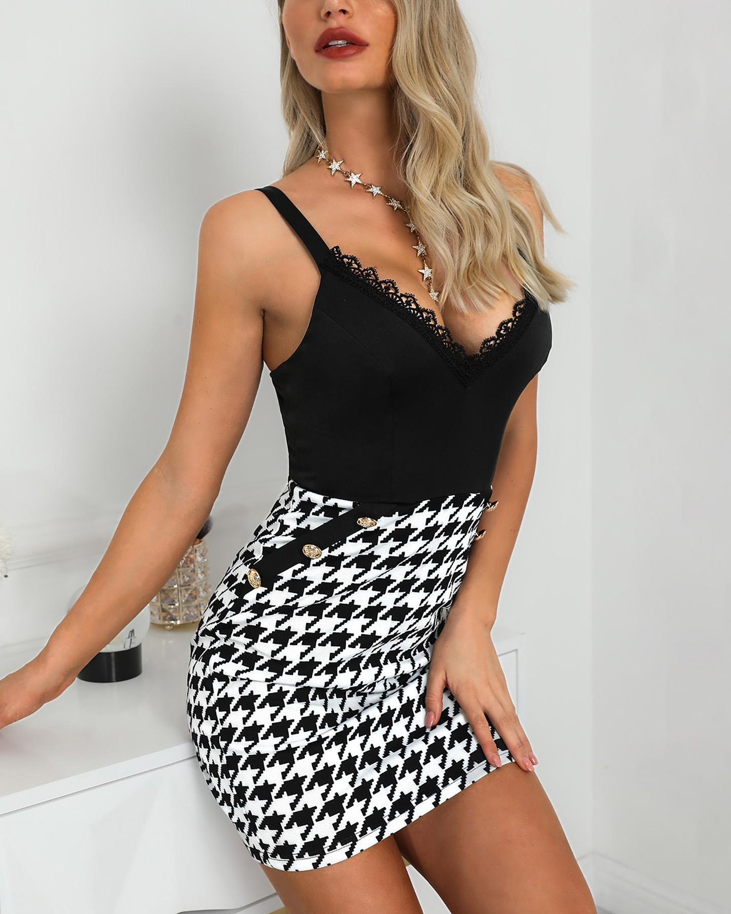 Houndstooth Insert Lace Detail Buttoned Slip Dress, Black