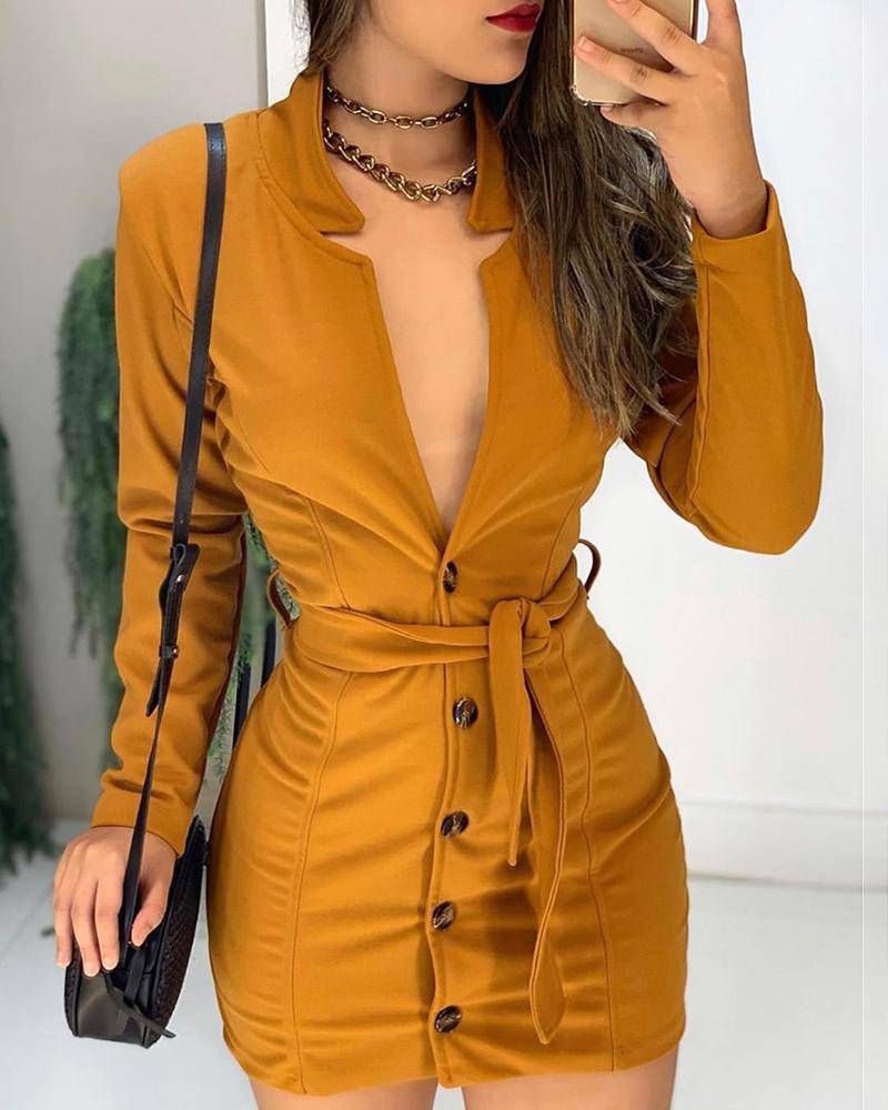 ivrose / Vestido ajustado de manga larga con botones abotonados