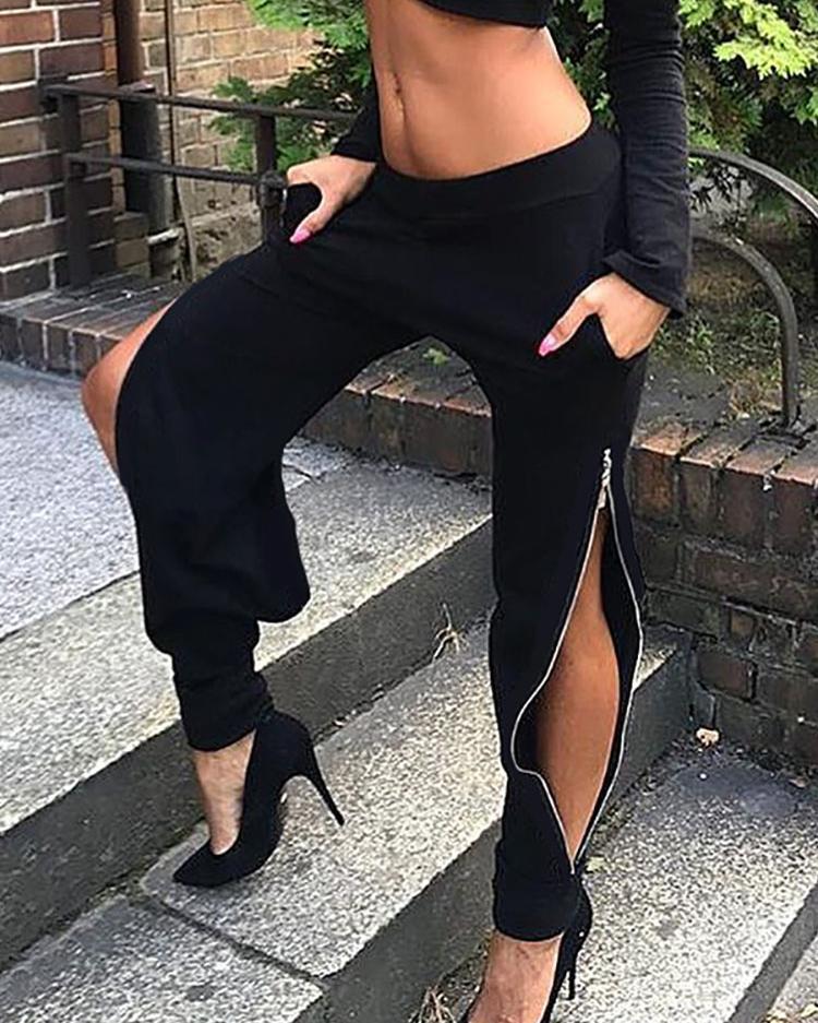 chicme / Cierre de cremallera lateral de moda pantalones sueltos