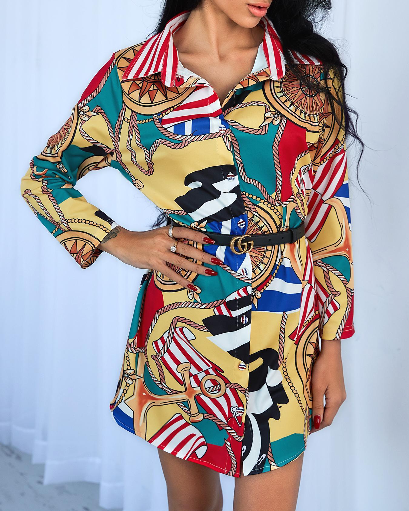 Multicolor Print Casual Shirt Dress