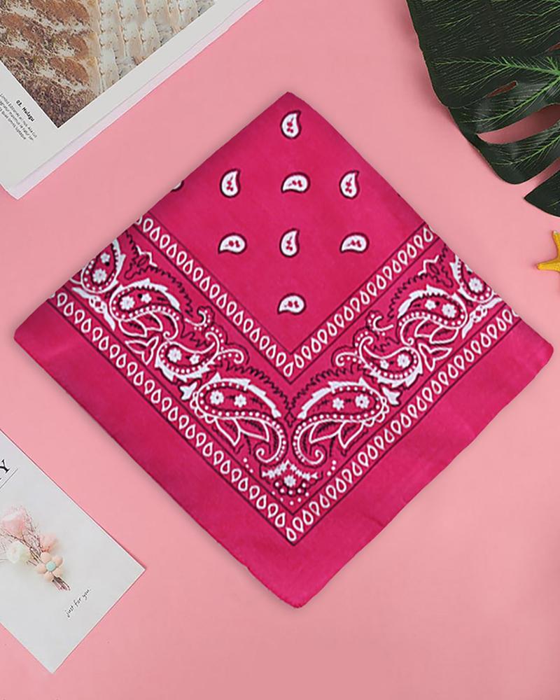 12PCS Paisley Cowboy Bandanas Head Wrap, Hot pink