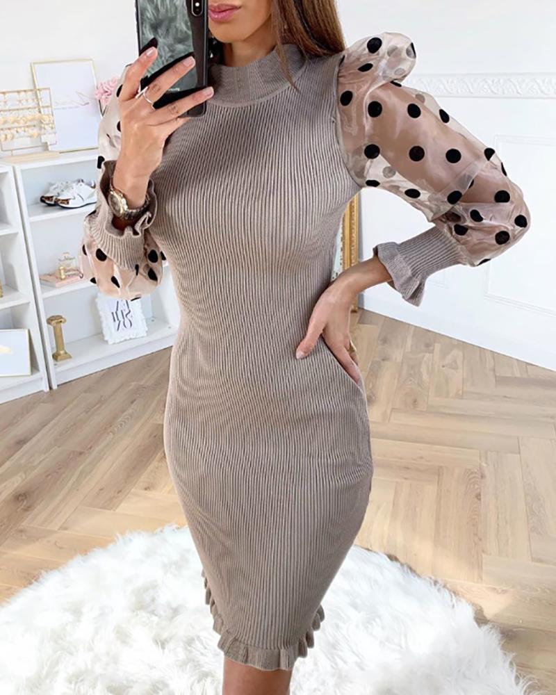 boutiquefeel / Mock Neck Puff Sleeve Polka Dot Mesh Insert Vestido com nervuras folho Bodycon