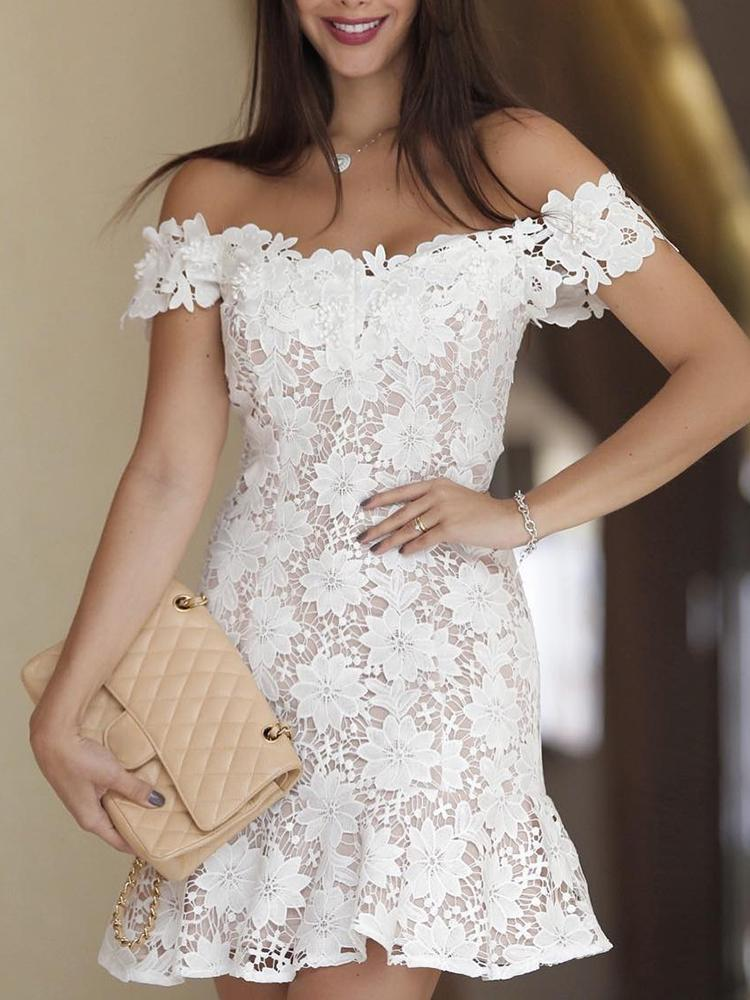 Off Shoulder Crochet Lace Pep Hem Mini Dress, White