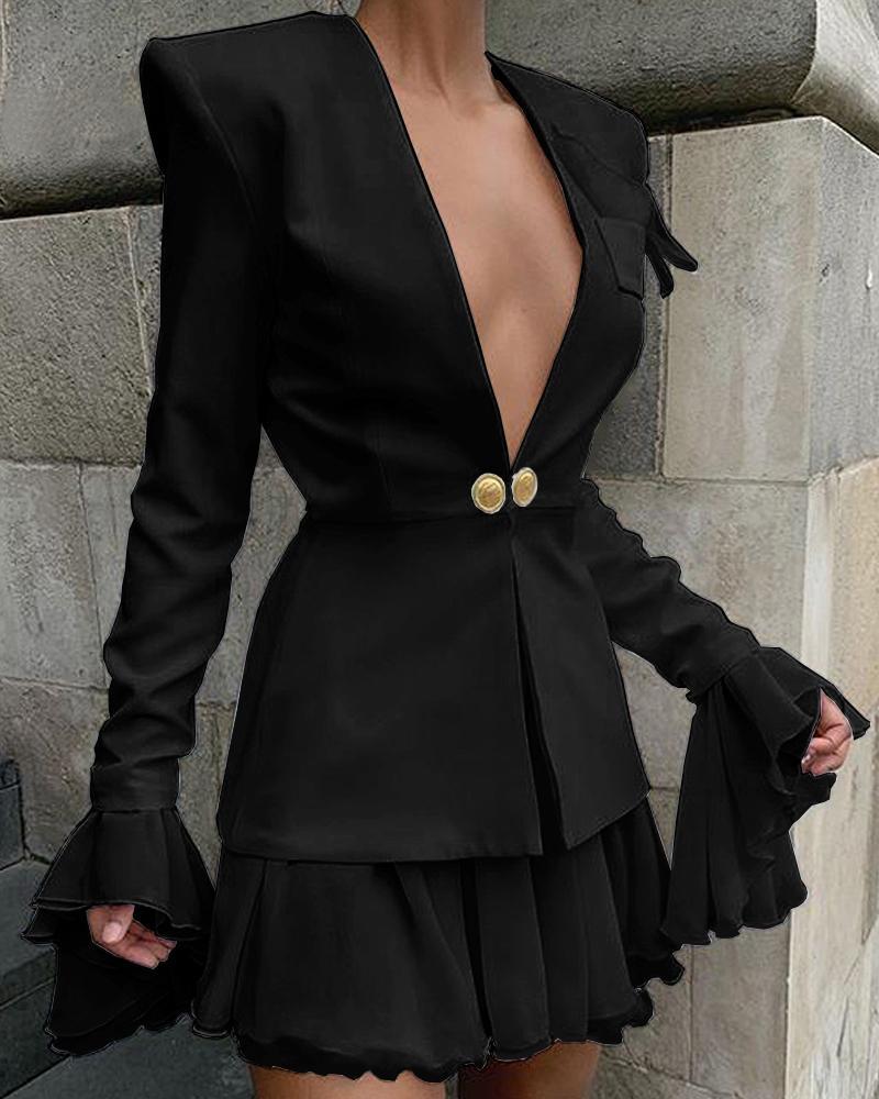 ivrose / Blazer con botones de manga campana y conjuntos de falda