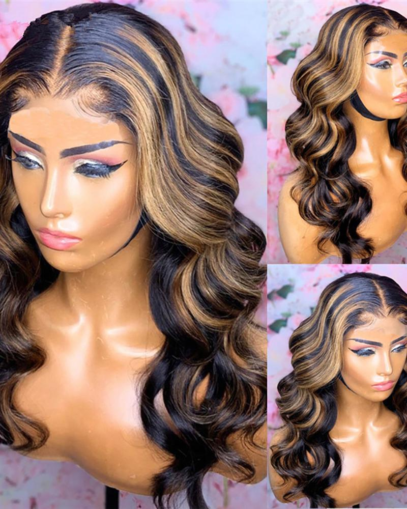 Lovely Wigs Ombre Wig Stylish Gradient Brown Long Wavy Wig Heat Resistant Synthetic Wig