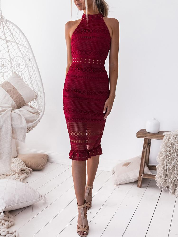 Hollow Out Crochet Back Slit Midi Dress