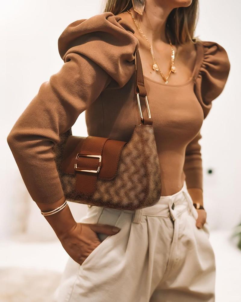 chicme / Blusa acanalada con manga de soplo y cuello cuadrado liso