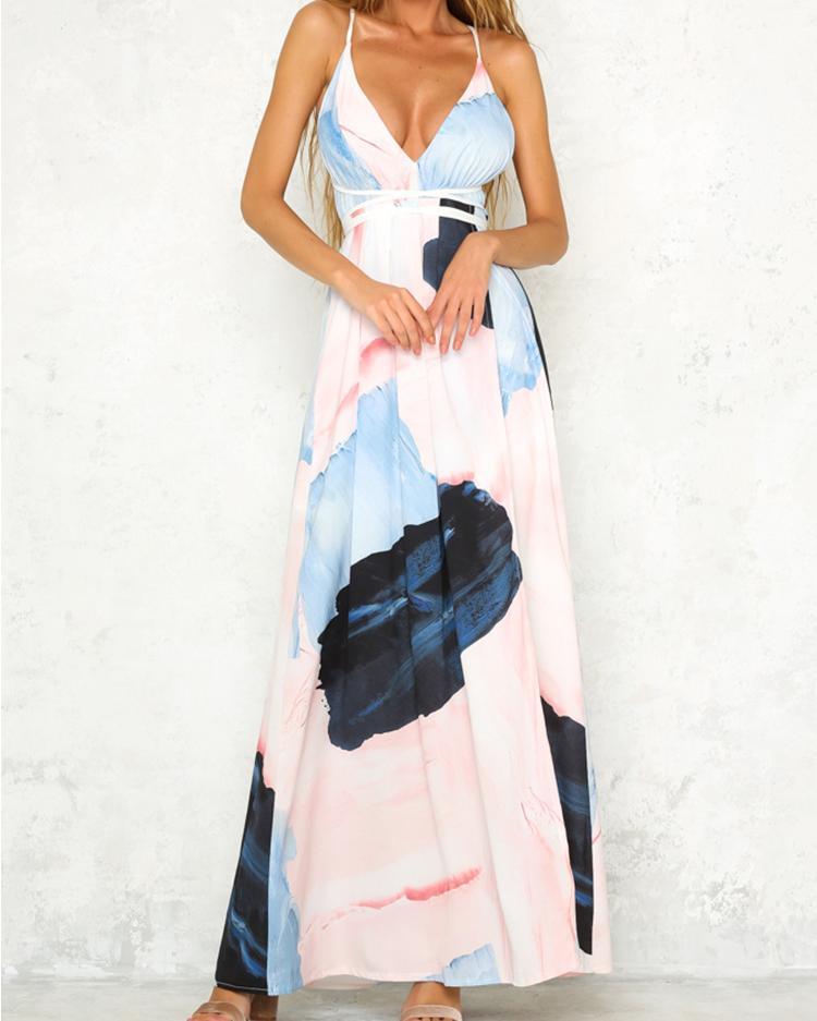 ivrose / Deep V Printed Bandage High Slit Maxi Slip Dress