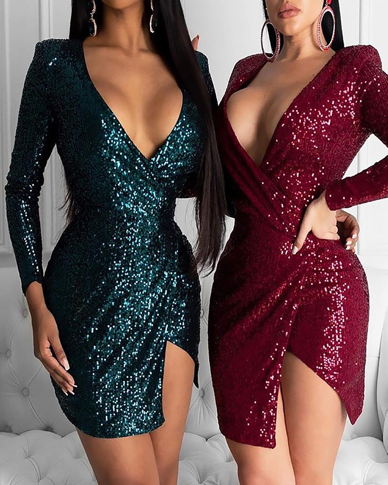 Glitter Plunge Irregular Sequins Dress фото