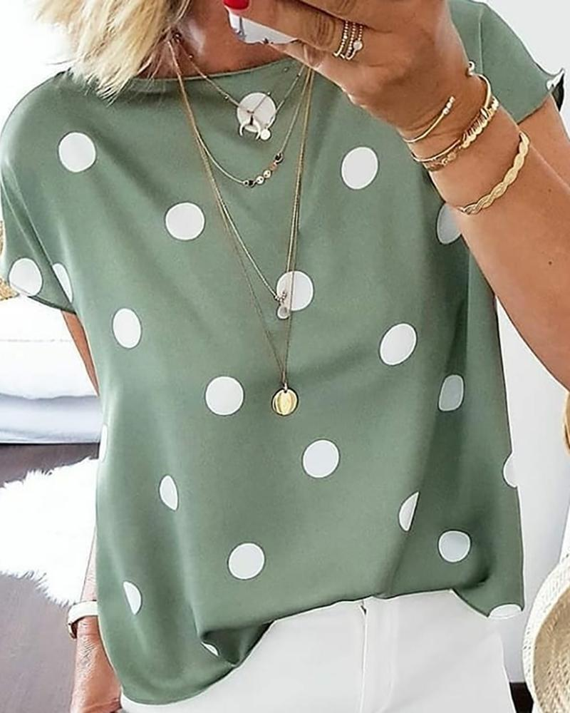 Dot Print Pullover Casual Blouse