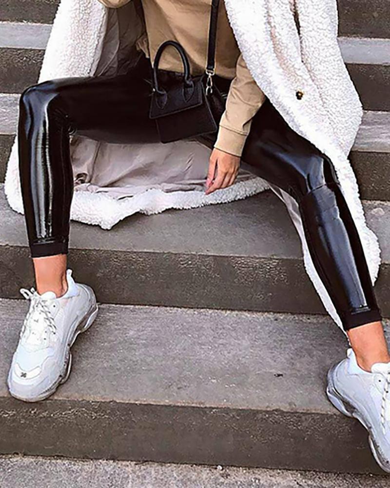 boutiquefeel / Faux Leather Side Zipper Design Pant