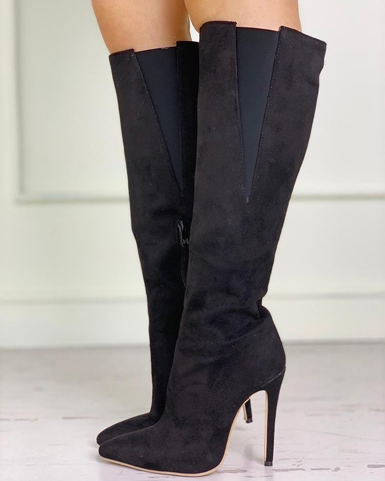 Suede Pointed Toe Knee Length Boots