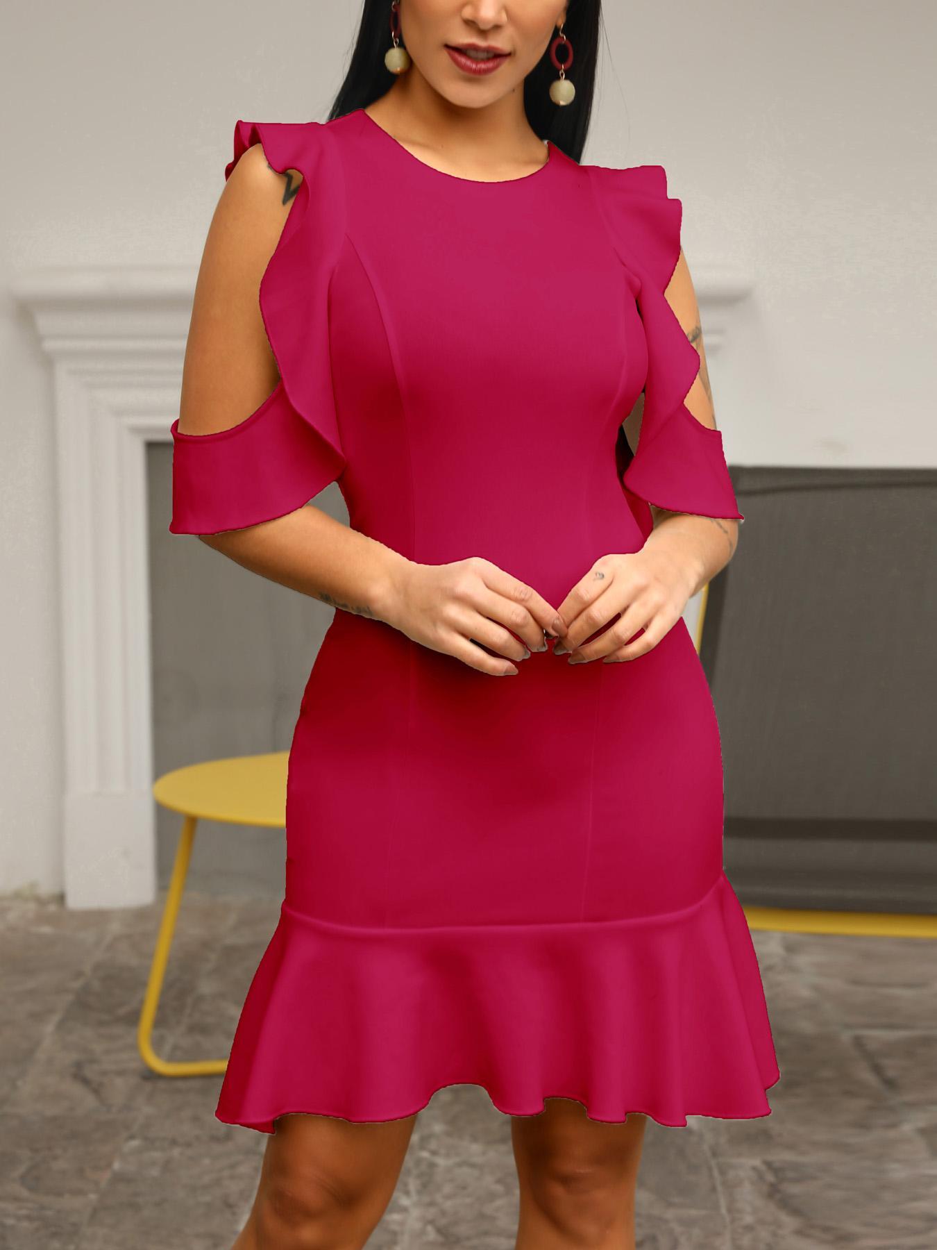 ivrose / Ruffles Cold Shoulder Pep Hem Bodycon Dress