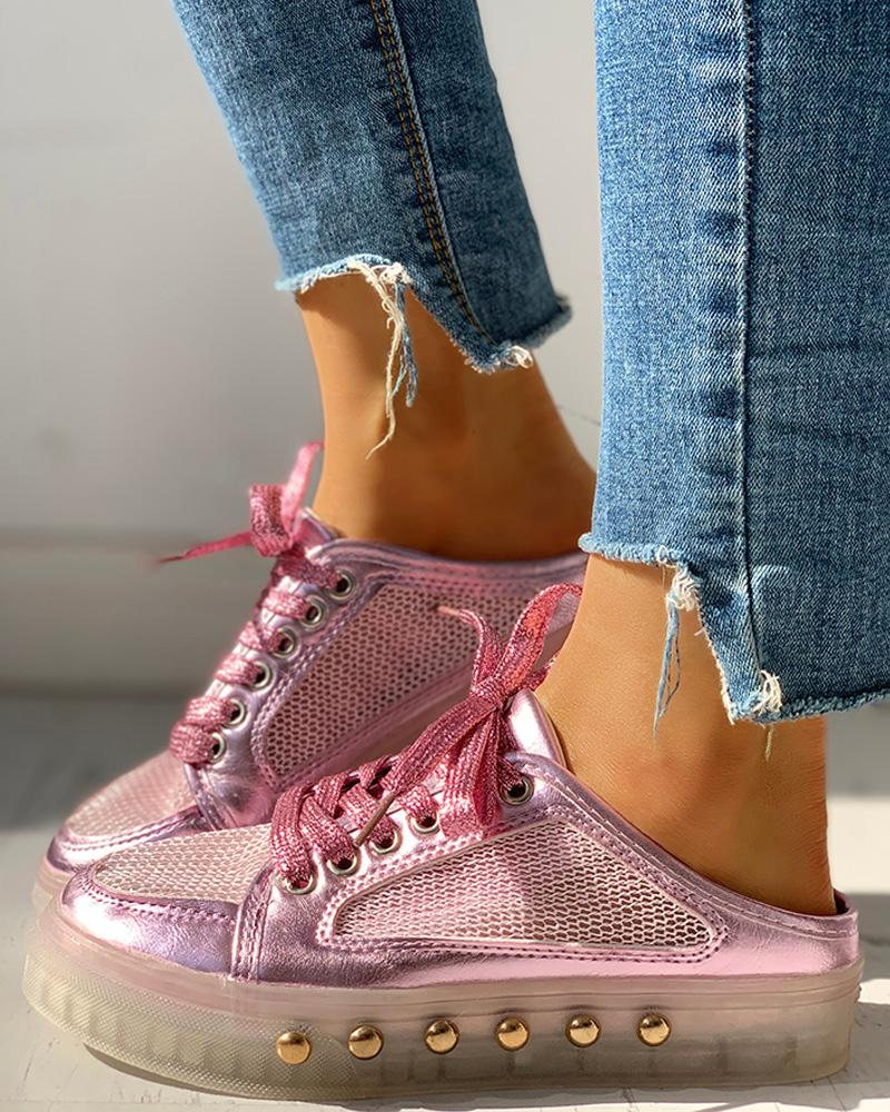 Rivet Mesh Patchwork Lace-Up Eyelet Sneakers, Pink