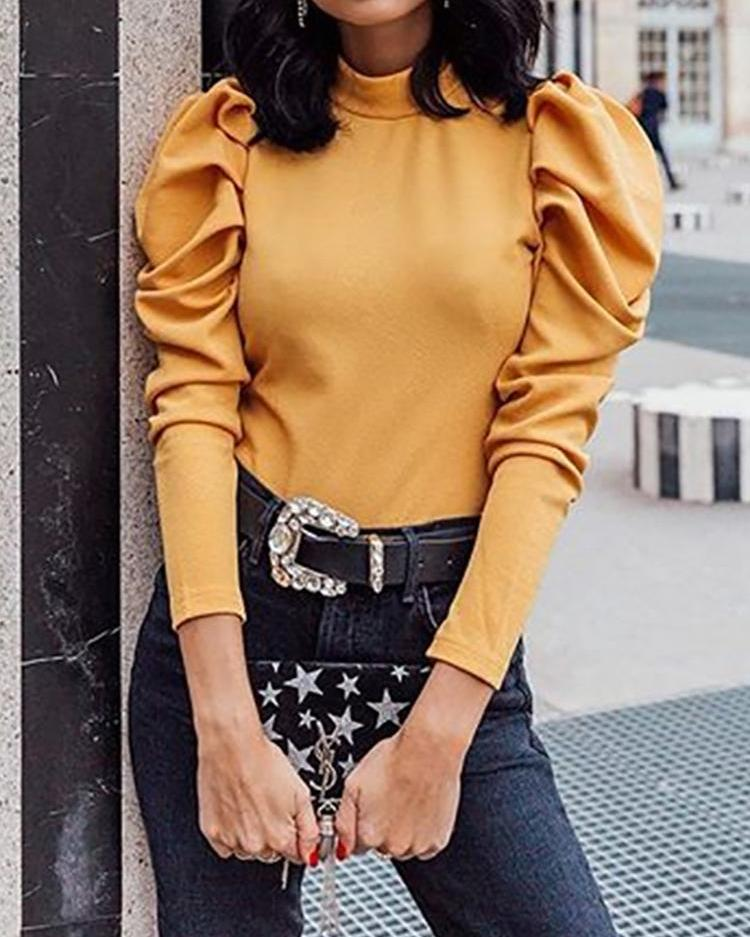 Leg-of-Mutton Sleeve Solid Top