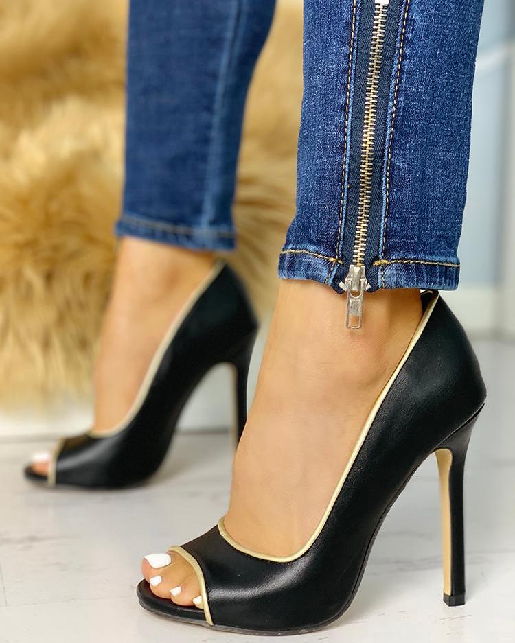 joyshoetique / Binding Peep Toe Thin Heels