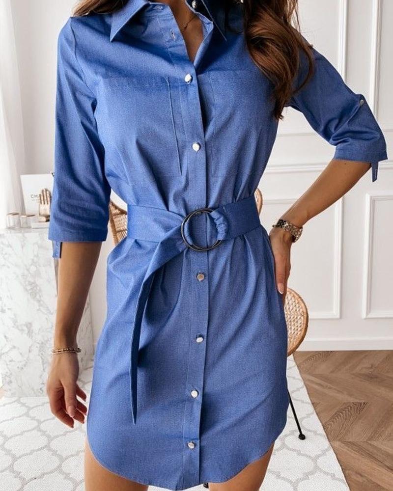 joyshoetique / Solid Belt Waist Shirt Mini Dress