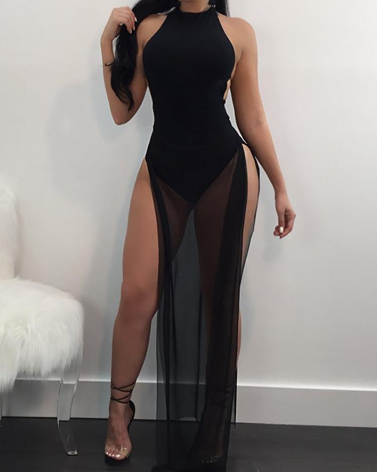 See Through Side Split Backless Maxi Romper Dress