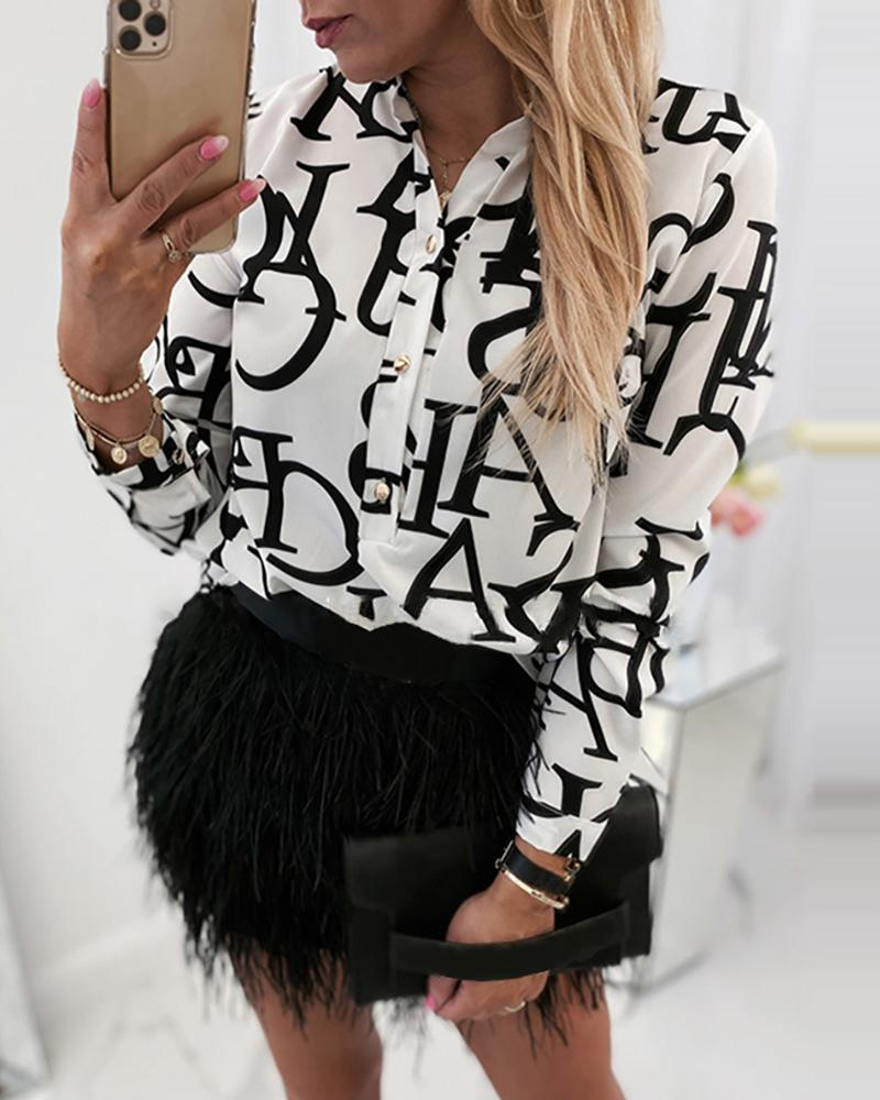 Letter Print Buttoned Long Sleeve Casual Blouse, Black
