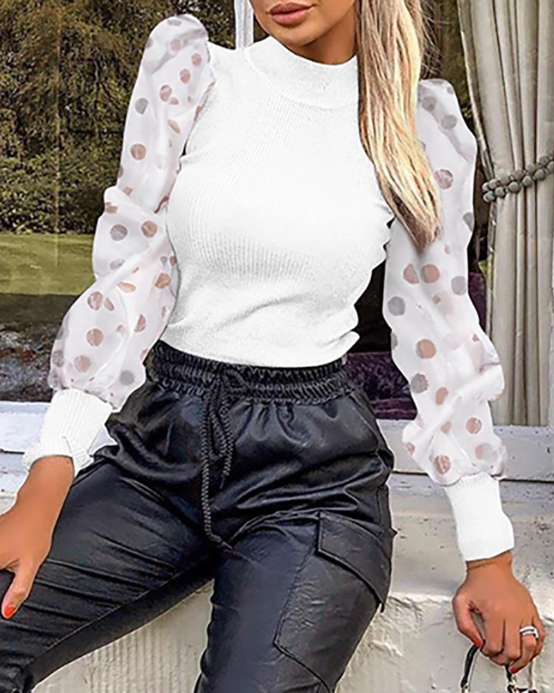 boutiquefeel / Mock Neck Polka Dot Puff Sleeve Mesh Insert Ribbed Blusa
