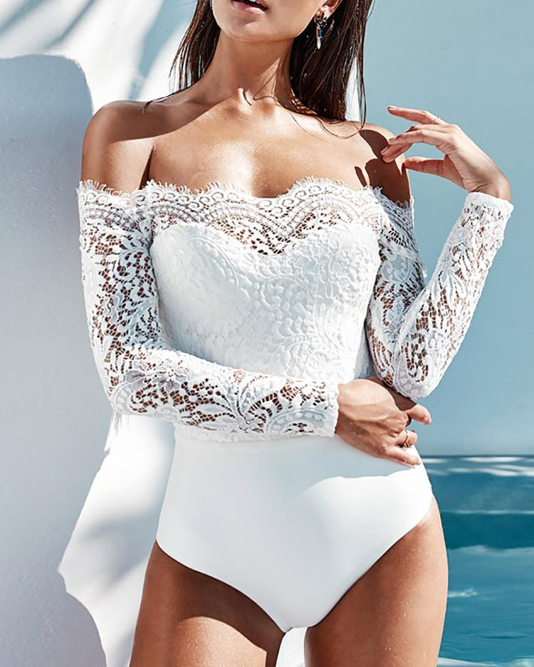 Off Shoulder Eyelash Lace Crochet Slinky Bodysuit