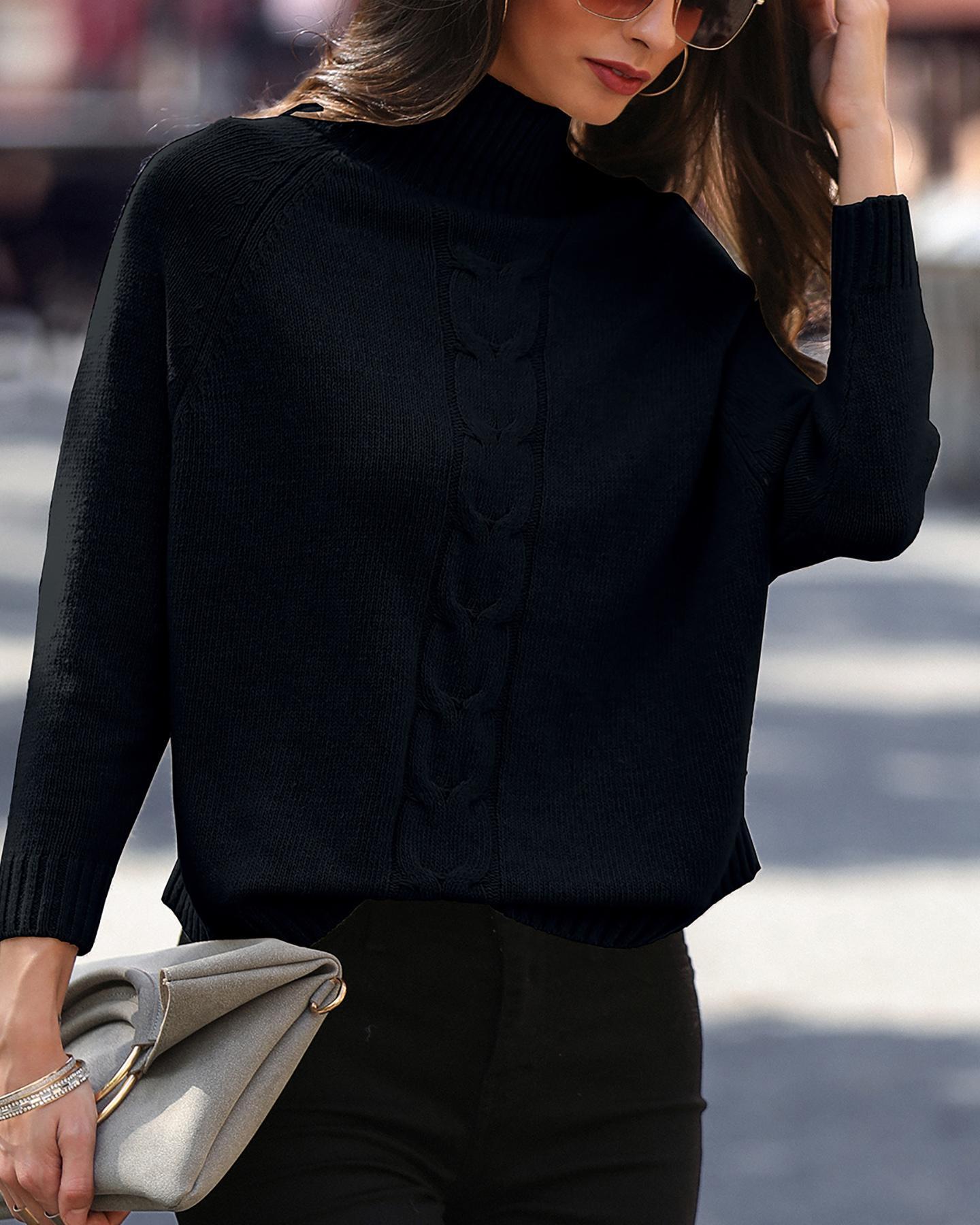 High Neck Dolman Sleeve Sweater фото