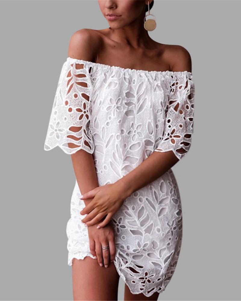 Off Shoulder Hollow Out Lace Dress