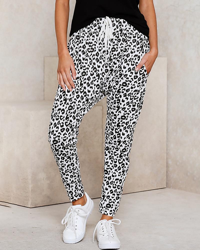 chicme / Calças casuais com estampa de leopardo e bolso