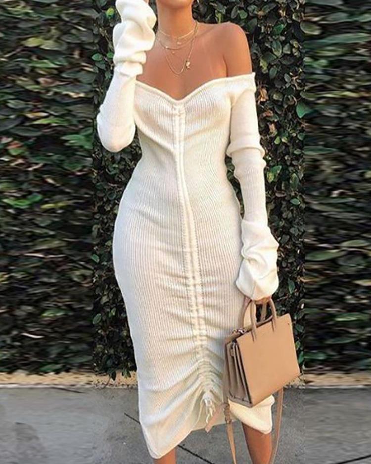 joyshoetique / Off Shoulder Drawstring Design Bodycon Dress
