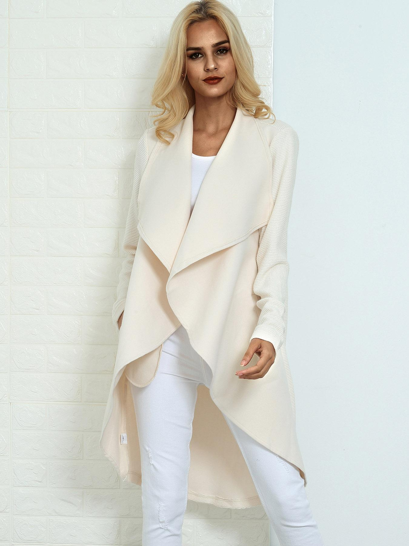 Asymmetric Solid Pocket Cardigan Coat