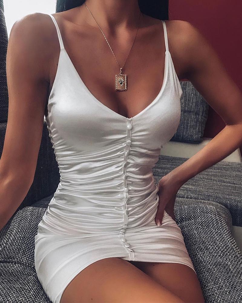 ivrose / Faux Button Bodycon Vestido Ruched