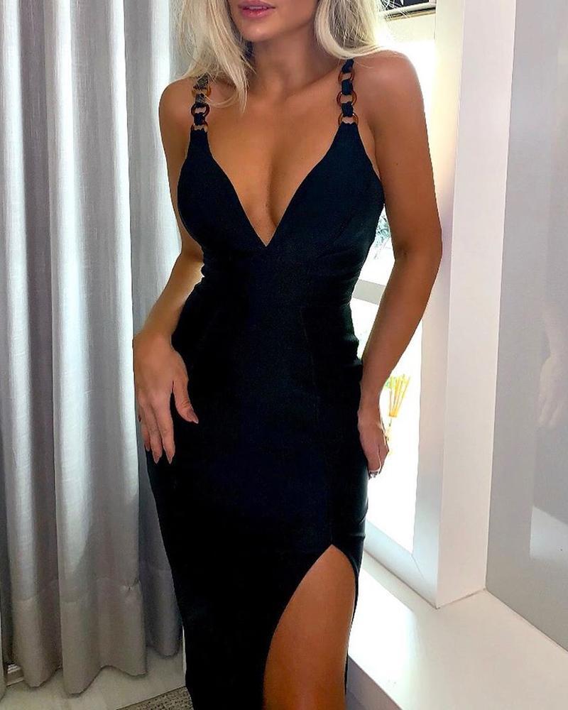 Solid Spaghetti Strap High Slit Dress фото
