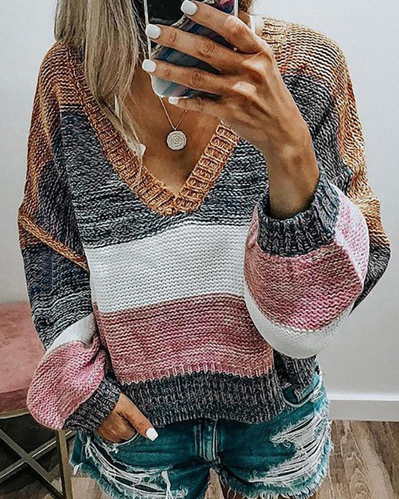 ivrose / Colorblock Lantern Sleeve Knit Top