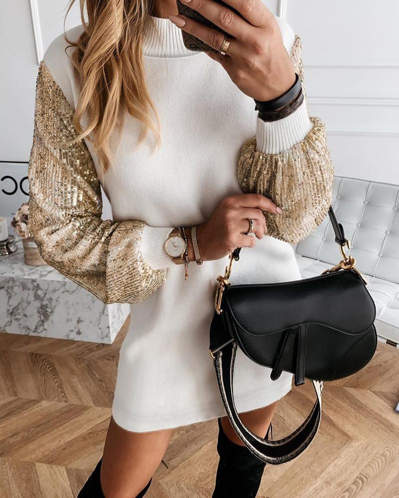 Lantern Sleeve Sequins Insert Dress фото