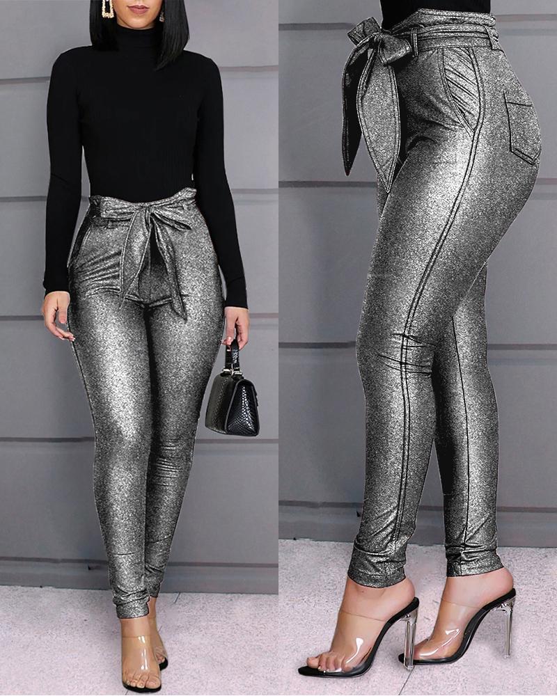High Waist Belted Glittering Pants фото