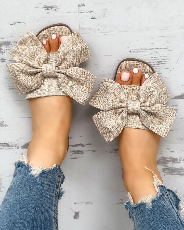 chicme / Open Toe Bowknot Espadrille Casual Slippers
